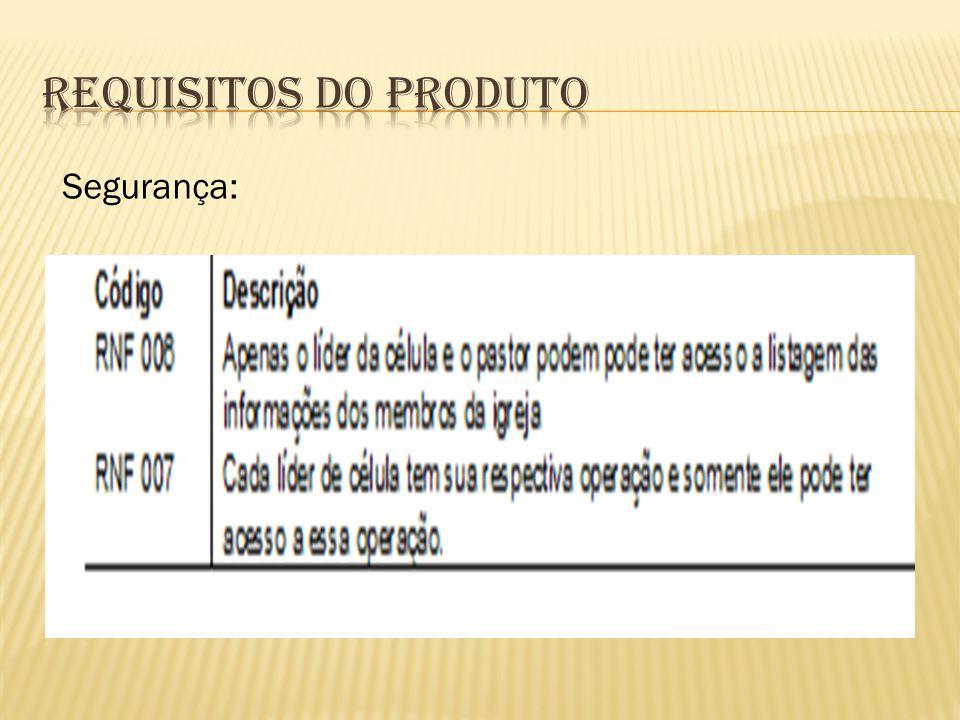 Requisitos do Produto Segurança: