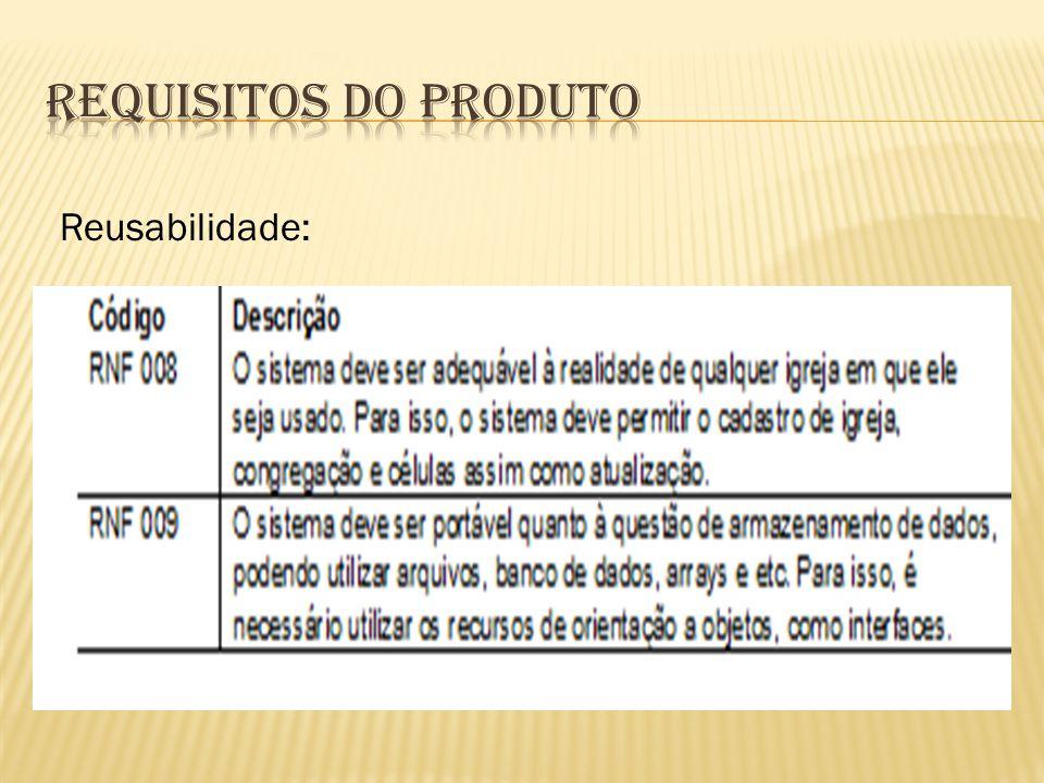 Requisitos do Produto Reusabilidade: