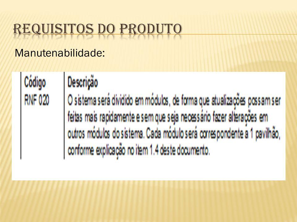 Requisitos do Produto Manutenabilidade: