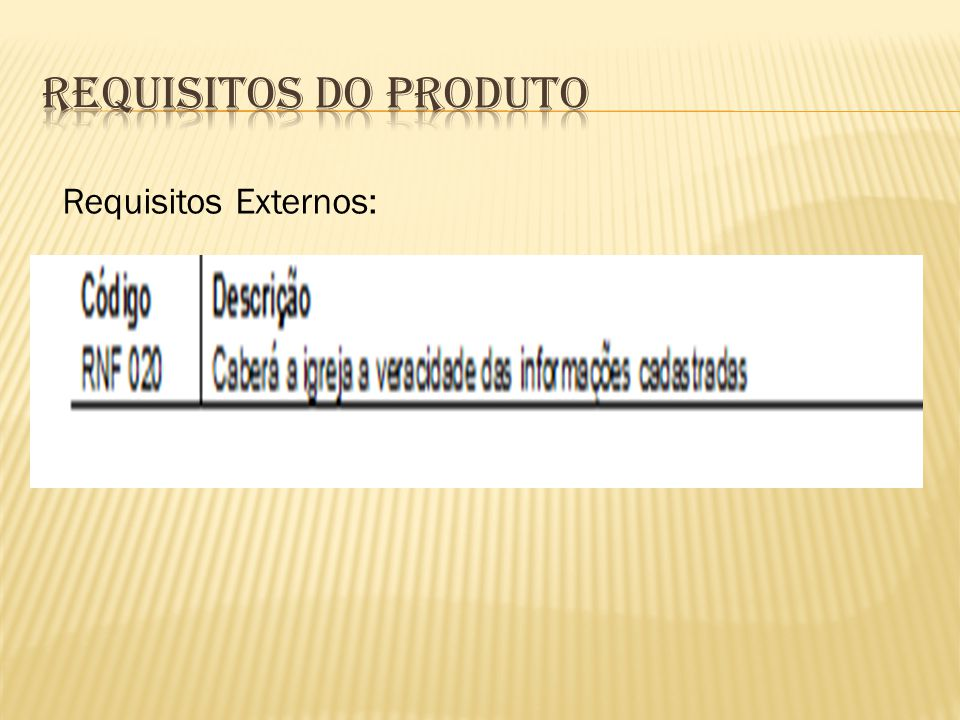 Requisitos do Produto Requisitos Externos: