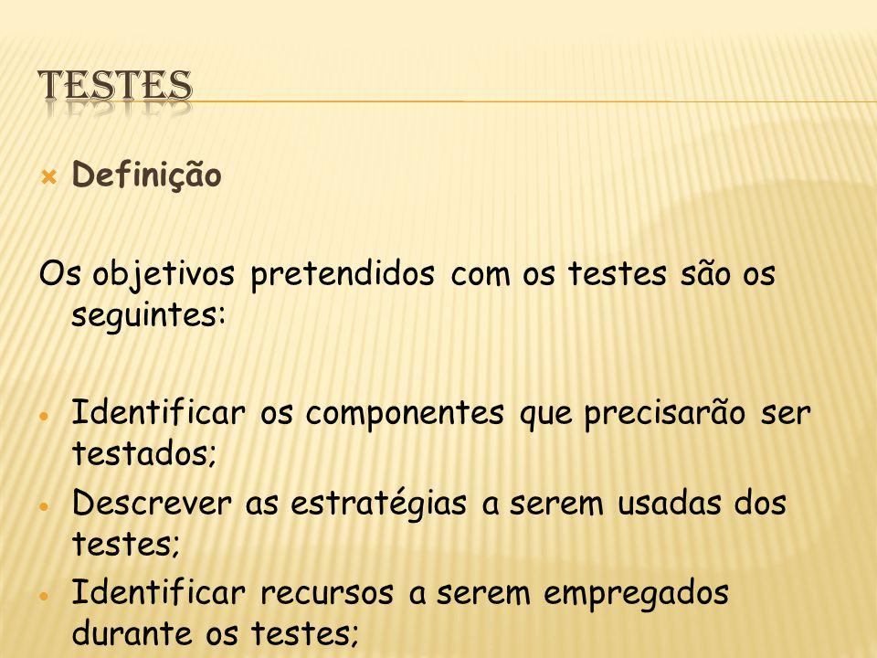 Testes Definição. Os objetivos pretendidos com os testes são os seguintes: Identificar os componentes que precisarão ser testados;