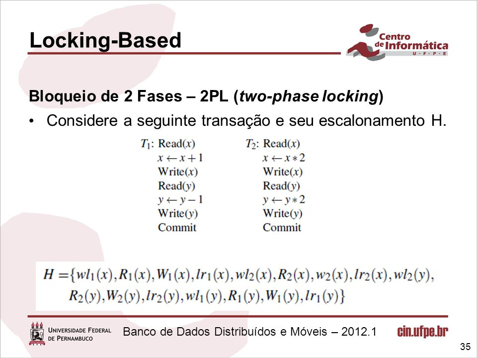 Locking-Based Bloqueio de 2 Fases – 2PL (two-phase locking)
