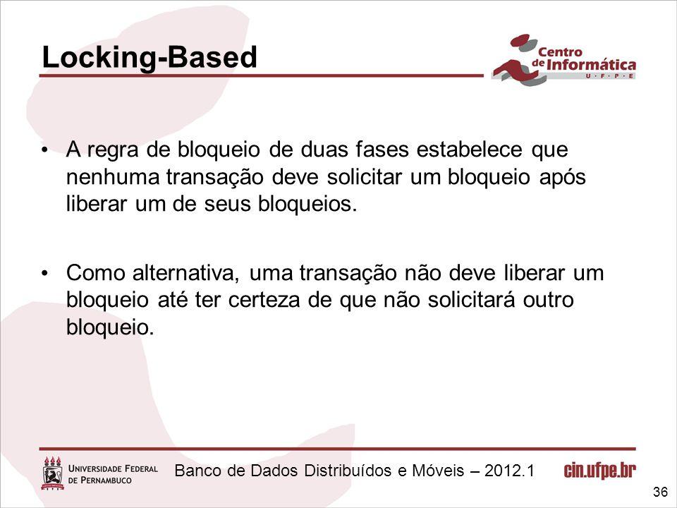 Locking-Based A regra de bloqueio de duas fases estabelece que nenhuma transação deve solicitar um bloqueio após liberar um de seus bloqueios.