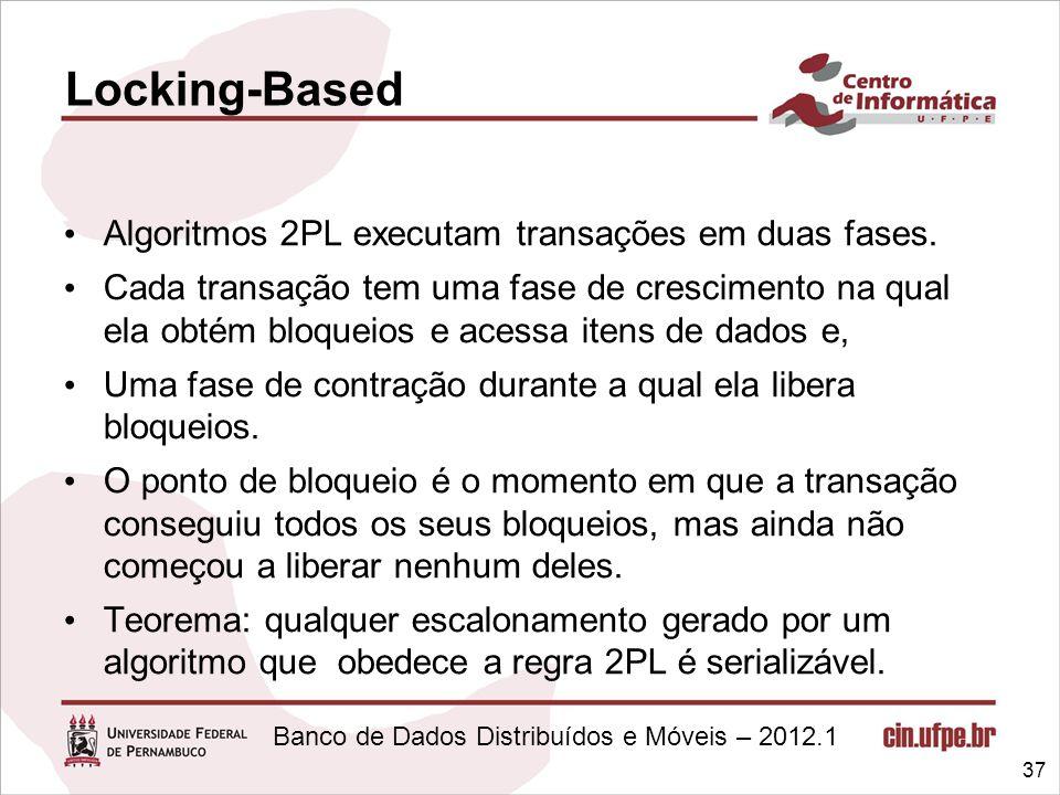 Locking-Based Algoritmos 2PL executam transações em duas fases.