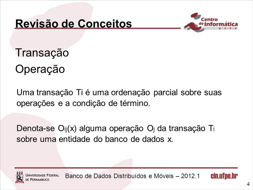 Revisão de Conceitos Transação Operação Uma transação Ti é uma ordenação parcial sobre suas operações e a condição de término.