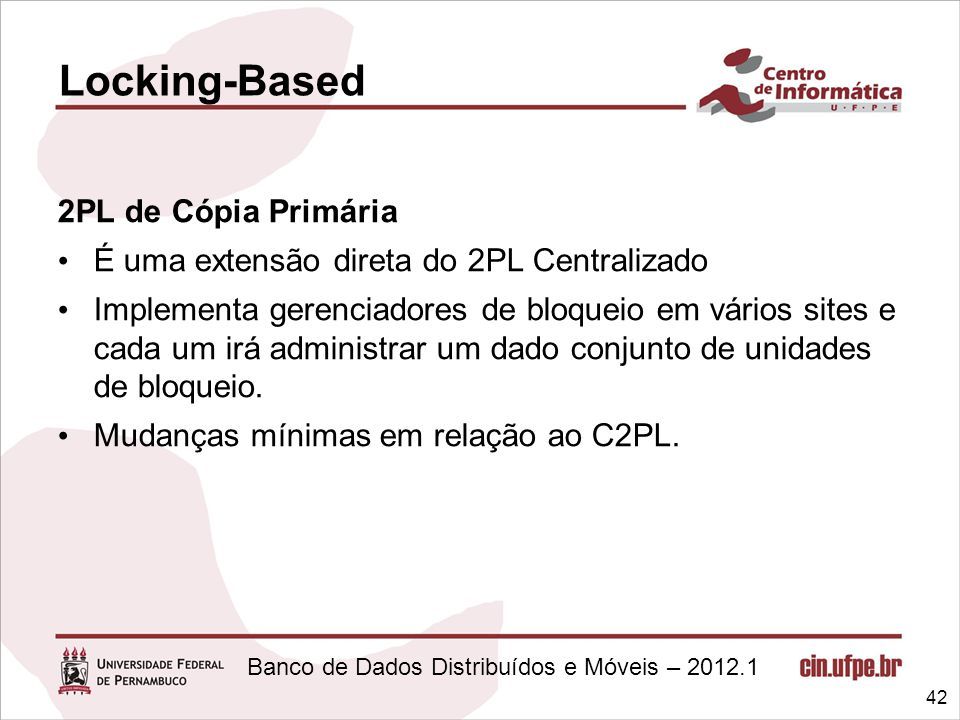 Locking-Based 2PL de Cópia Primária