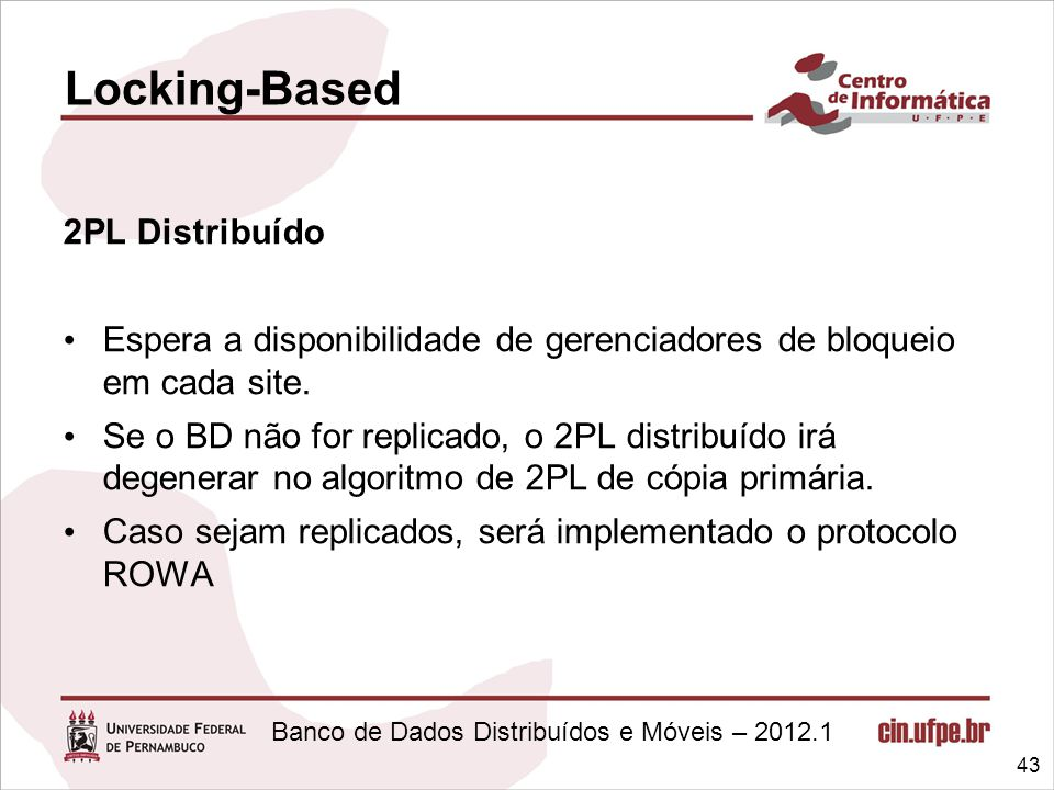 Locking-Based 2PL Distribuído