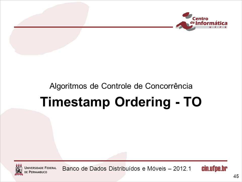 Timestamp Ordering - TO