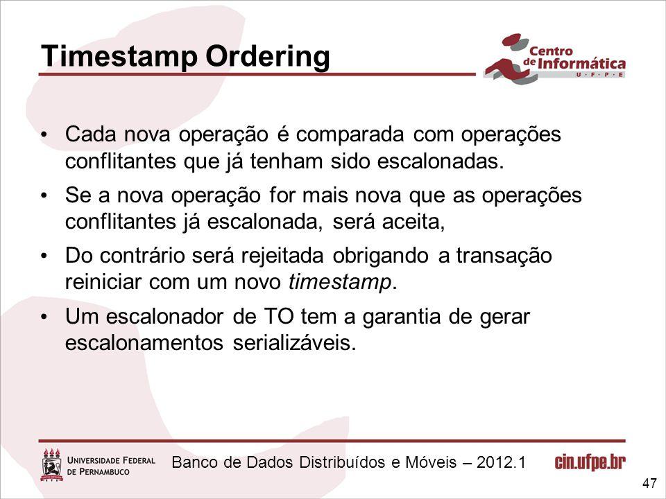 Timestamp Ordering Cada nova operação é comparada com operações conflitantes que já tenham sido escalonadas.