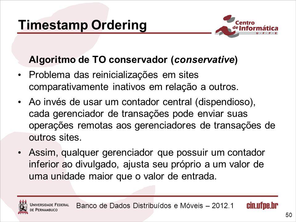 Timestamp Ordering Algoritmo de TO conservador (conservative)