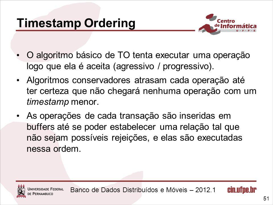 Timestamp Ordering O algoritmo básico de TO tenta executar uma operação logo que ela é aceita (agressivo / progressivo).