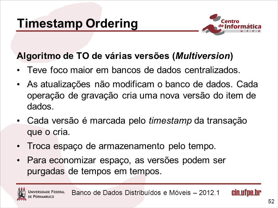 Timestamp Ordering Algoritmo de TO de várias versões (Multiversion)