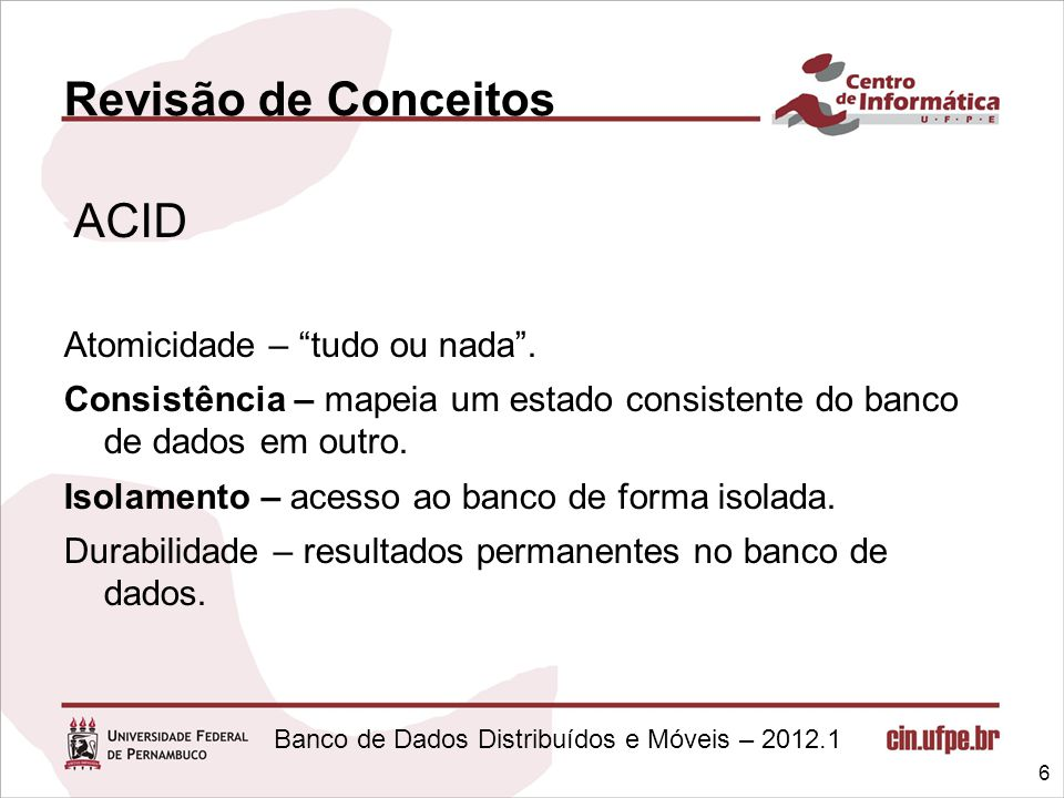 Revisão de Conceitos ACID