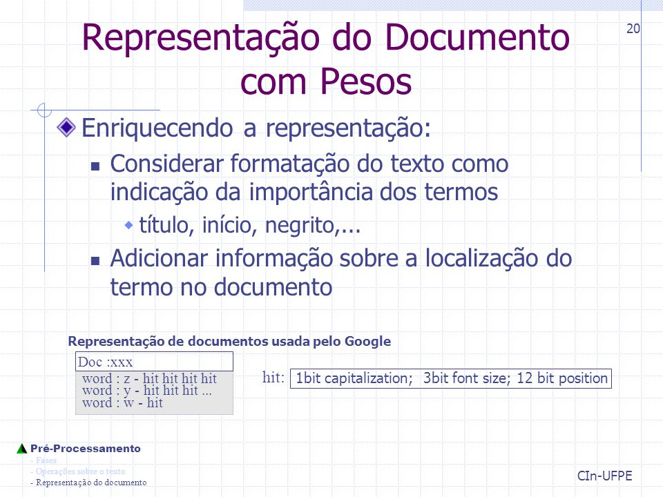 Representação do Documento com Pesos