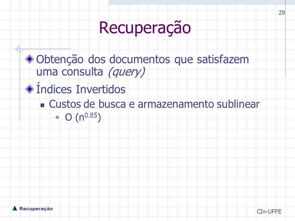 Recuperação Obtenção dos documentos que satisfazem uma consulta (query) Índices Invertidos. Custos de busca e armazenamento sublinear.