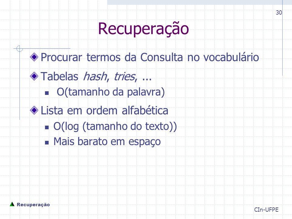 Recuperação Procurar termos da Consulta no vocabulário