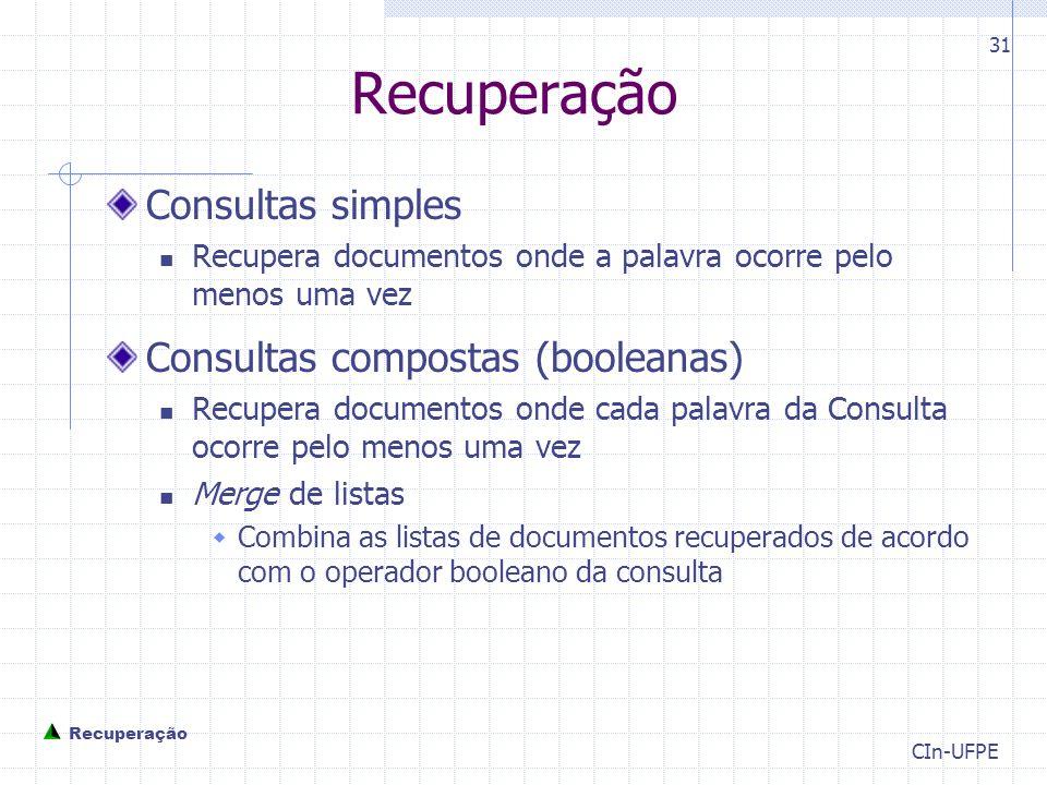 Recuperação Consultas simples Consultas compostas (booleanas)