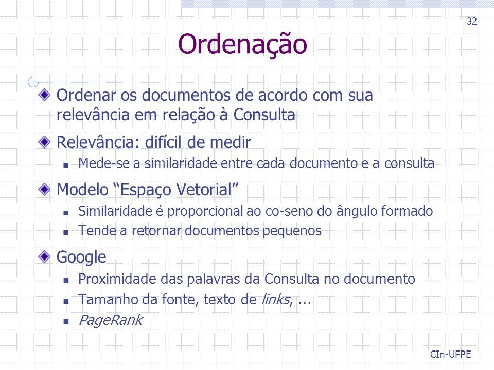 Ordenação Ordenar os documentos de acordo com sua relevância em relação à Consulta. Relevância: difícil de medir.