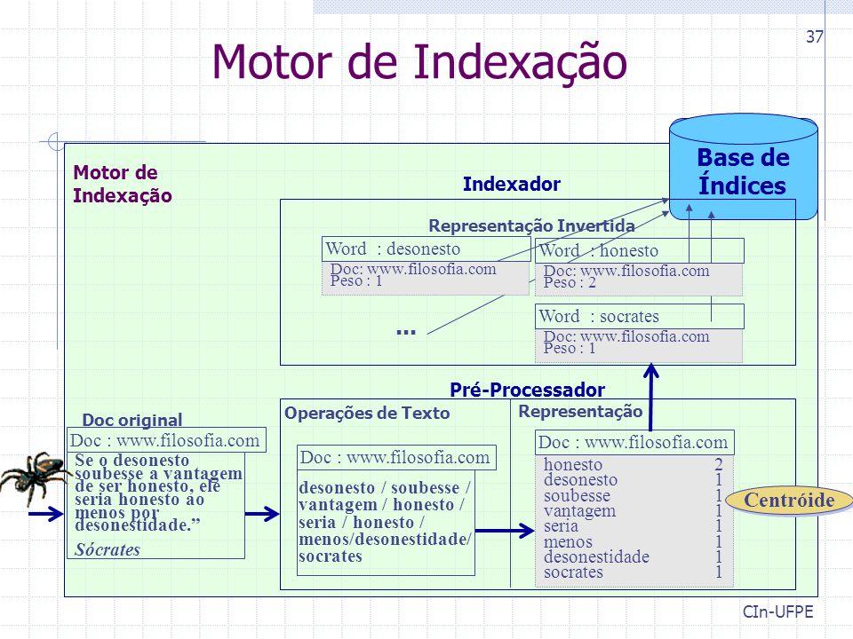 Motor de Indexação Base de Índices ... Centróide Indexador Motor de