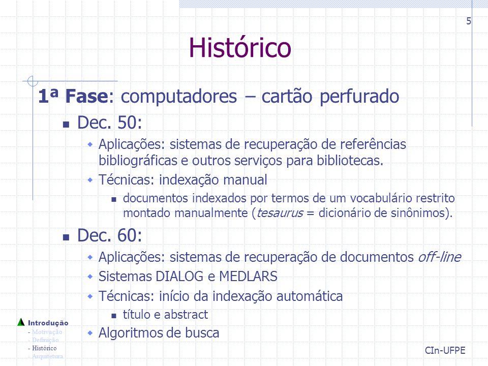 Histórico 1ª Fase: computadores – cartão perfurado Dec. 50: Dec. 60: