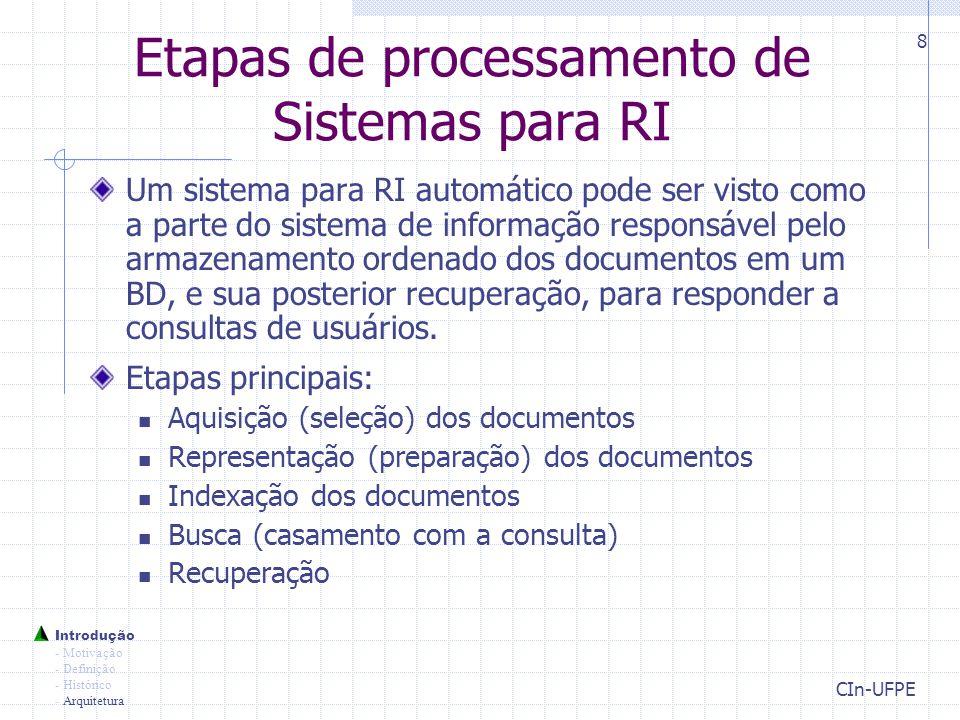 Etapas de processamento de Sistemas para RI