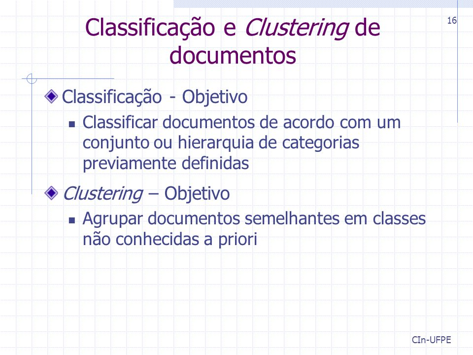 Classificação e Clustering de documentos