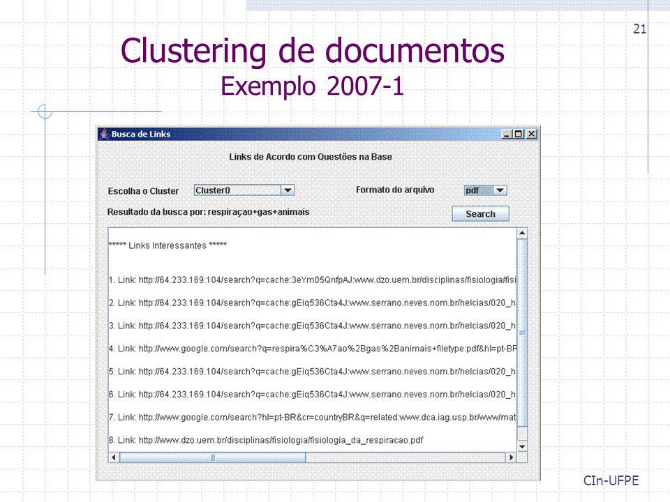 Clustering de documentos Exemplo 2007-1