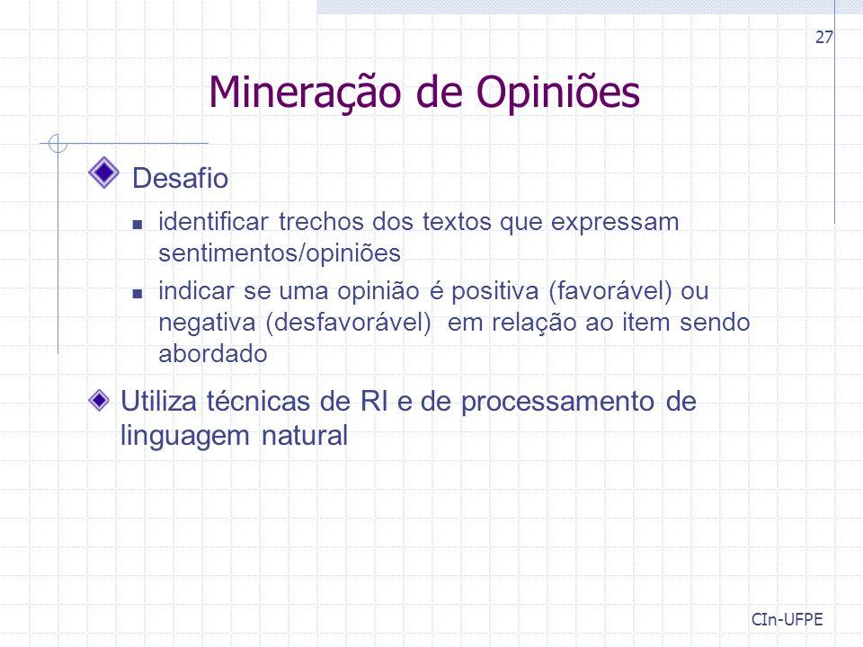Mineração de Opiniões Desafio