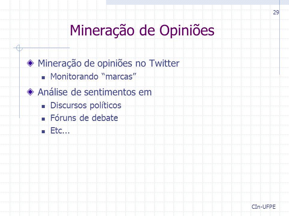Mineração de Opiniões Mineração de opiniões no Twitter