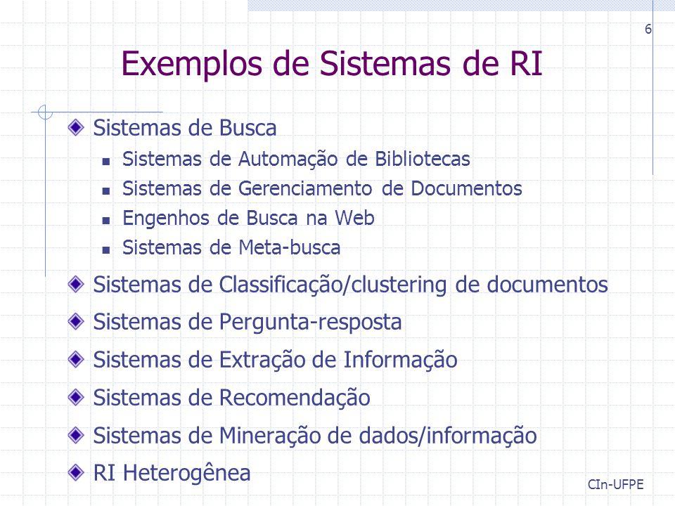 Exemplos de Sistemas de RI
