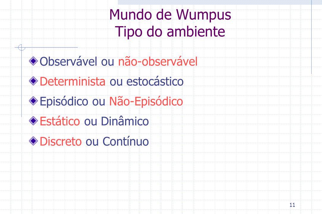 Mundo de Wumpus Tipo do ambiente