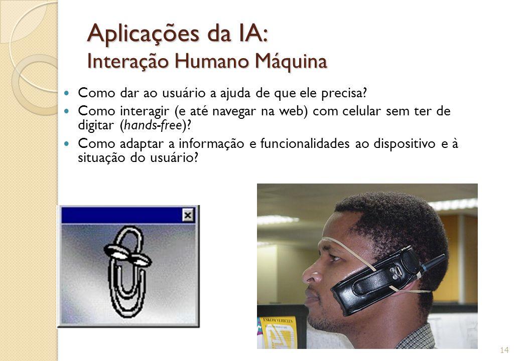 Aplicações da IA: Interação Humano Máquina