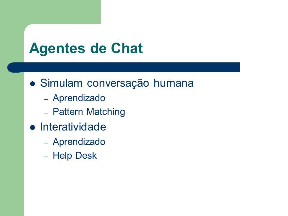 Agentes de Chat Simulam conversação humana Interatividade Aprendizado