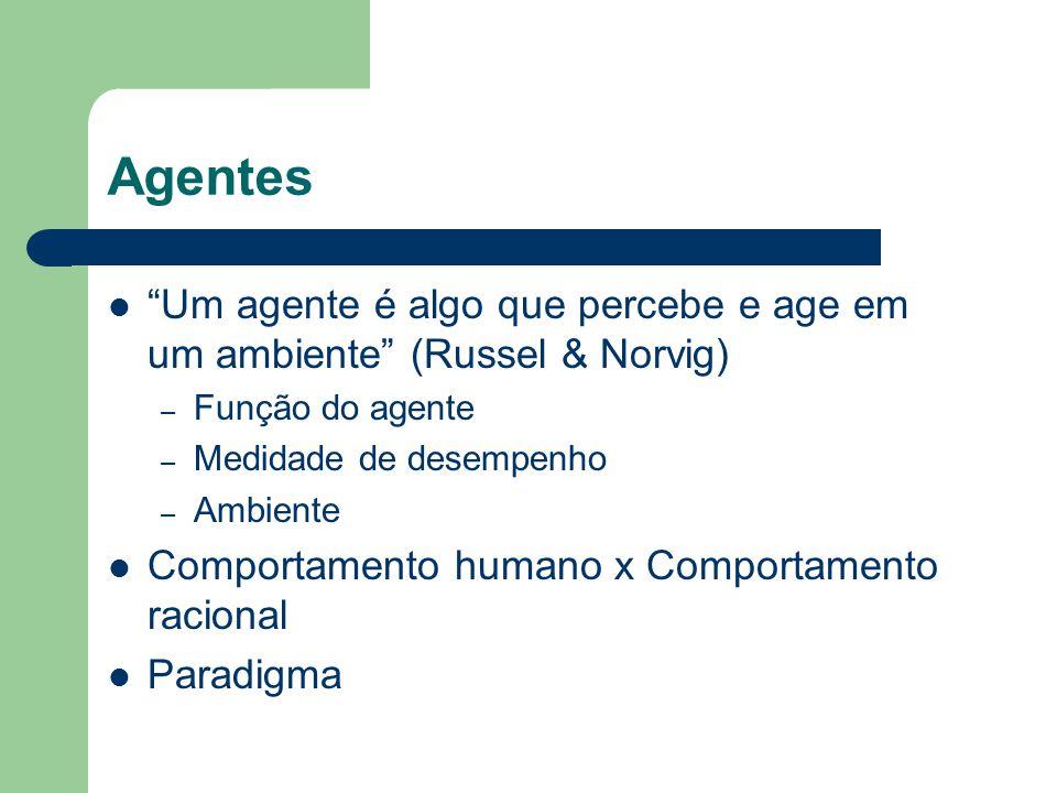 Agentes Um agente é algo que percebe e age em um ambiente (Russel & Norvig) Função do agente. Medidade de desempenho.
