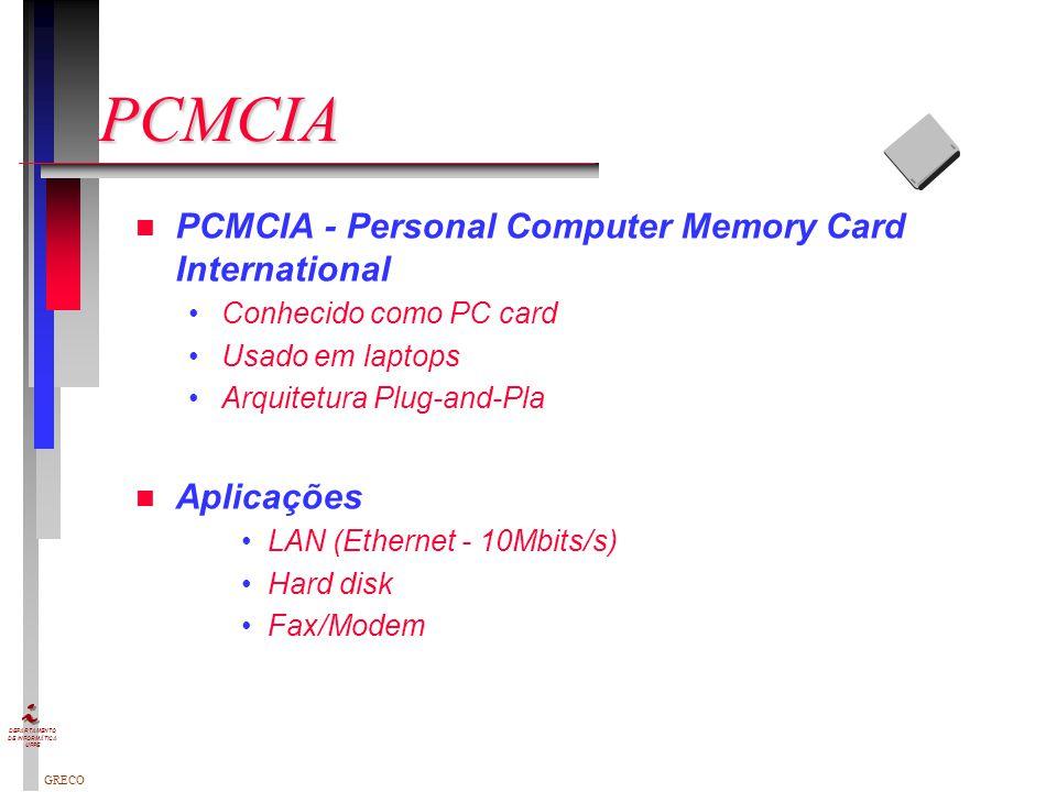 PCMCIA PCMCIA - Personal Computer Memory Card International Aplicações