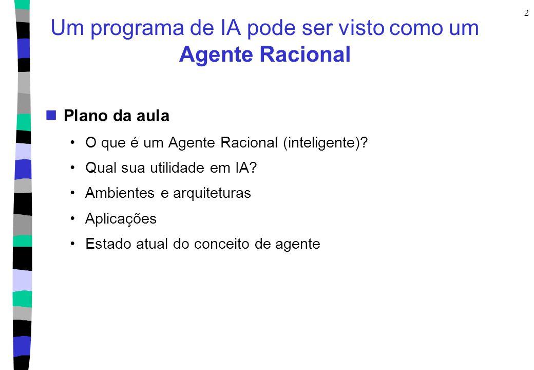 Um programa de IA pode ser visto como um Agente Racional