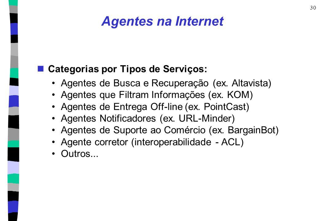 Agentes na Internet Categorias por Tipos de Serviços: