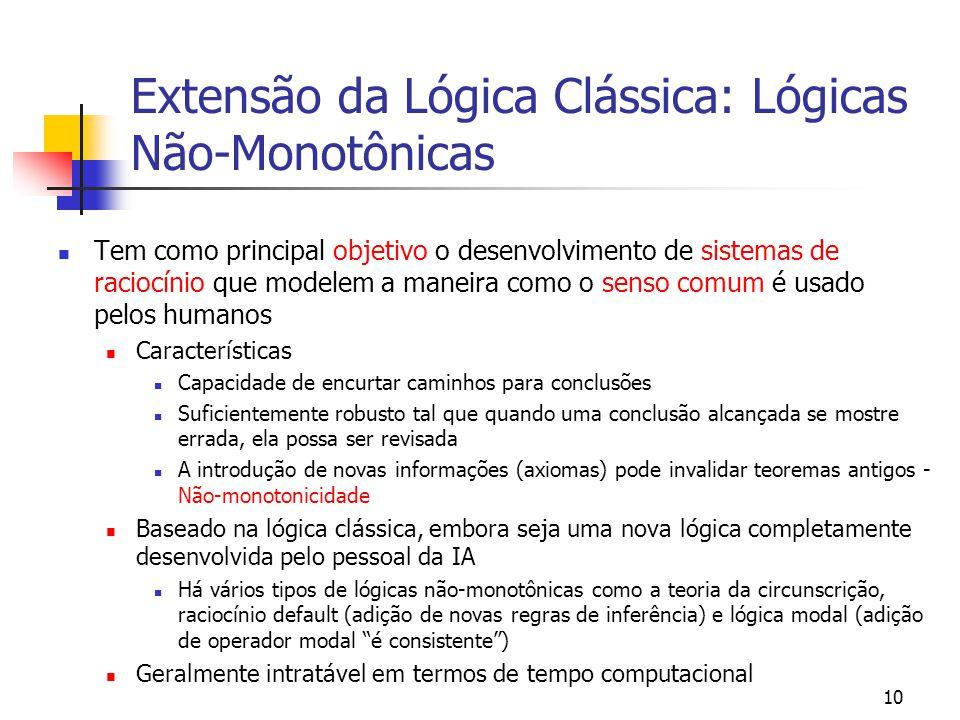 Extensão da Lógica Clássica: Lógicas Não-Monotônicas