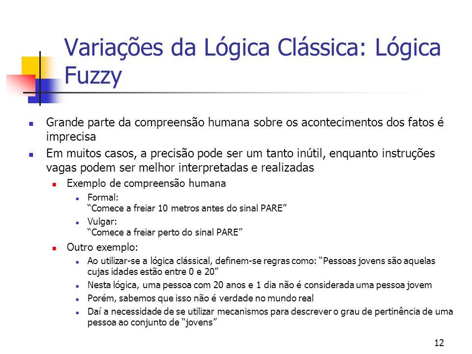 Variações da Lógica Clássica: Lógica Fuzzy