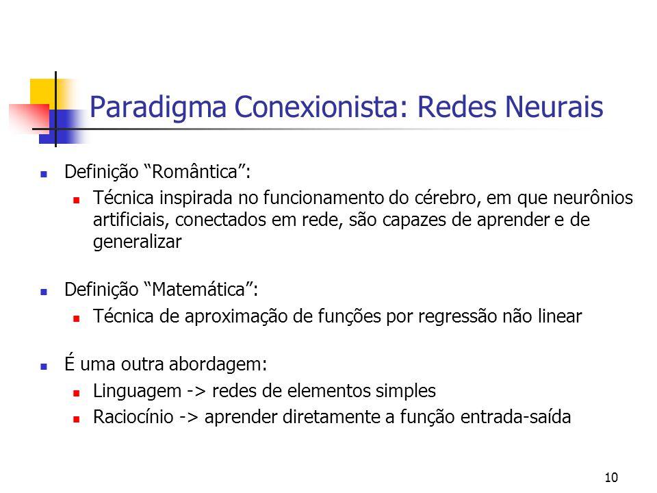Paradigma Conexionista: Redes Neurais