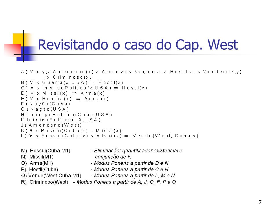 Revisitando o caso do Cap. West