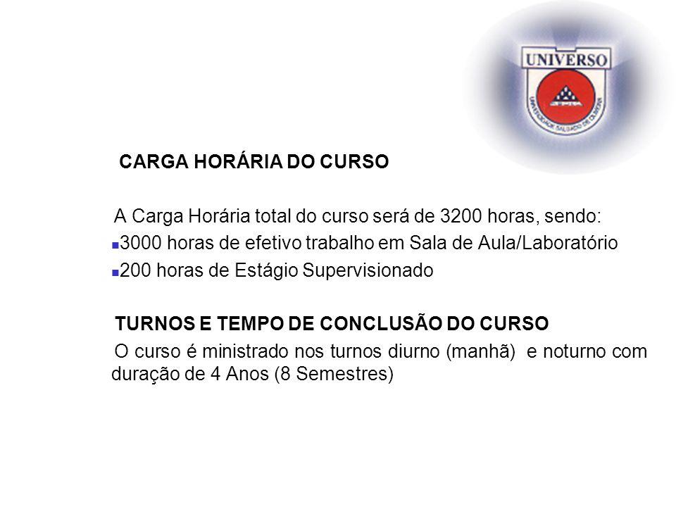 CARGA HORÁRIA DO CURSO A Carga Horária total do curso será de 3200 horas, sendo: 3000 horas de efetivo trabalho em Sala de Aula/Laboratório.