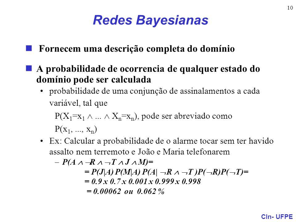 Redes Bayesianas Fornecem uma descrição completa do domínio