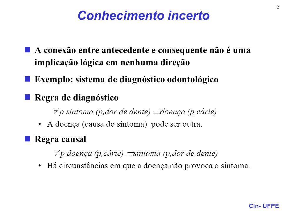 Conhecimento incerto A conexão entre antecedente e consequente não é uma implicação lógica em nenhuma direção.