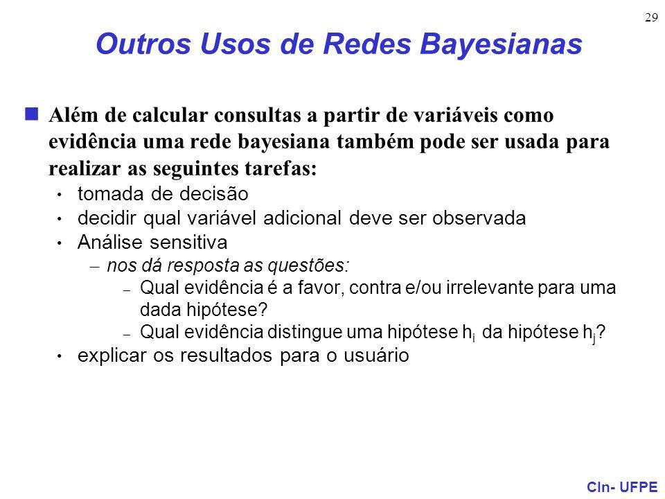 Outros Usos de Redes Bayesianas