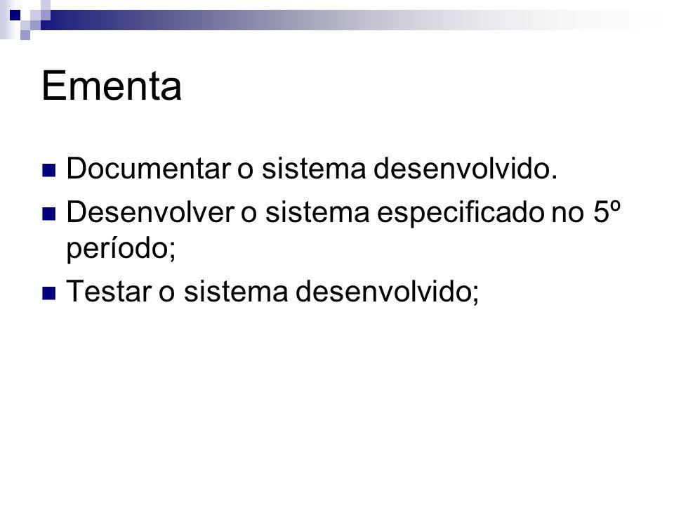 Ementa Documentar o sistema desenvolvido.