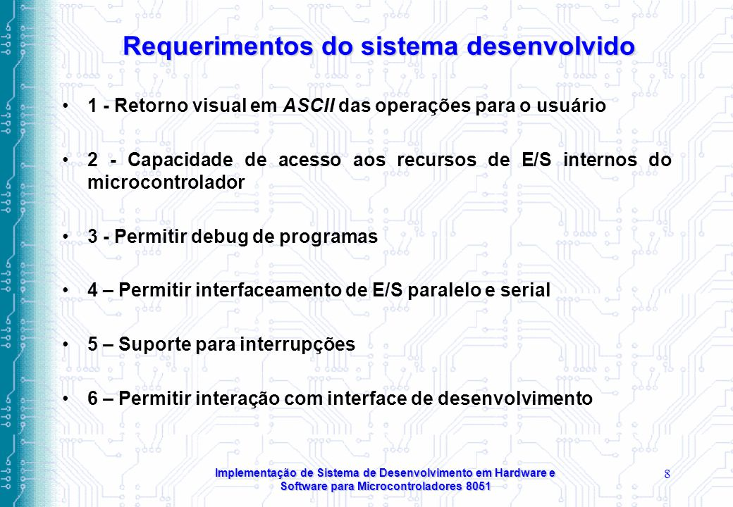 Requerimentos do sistema desenvolvido