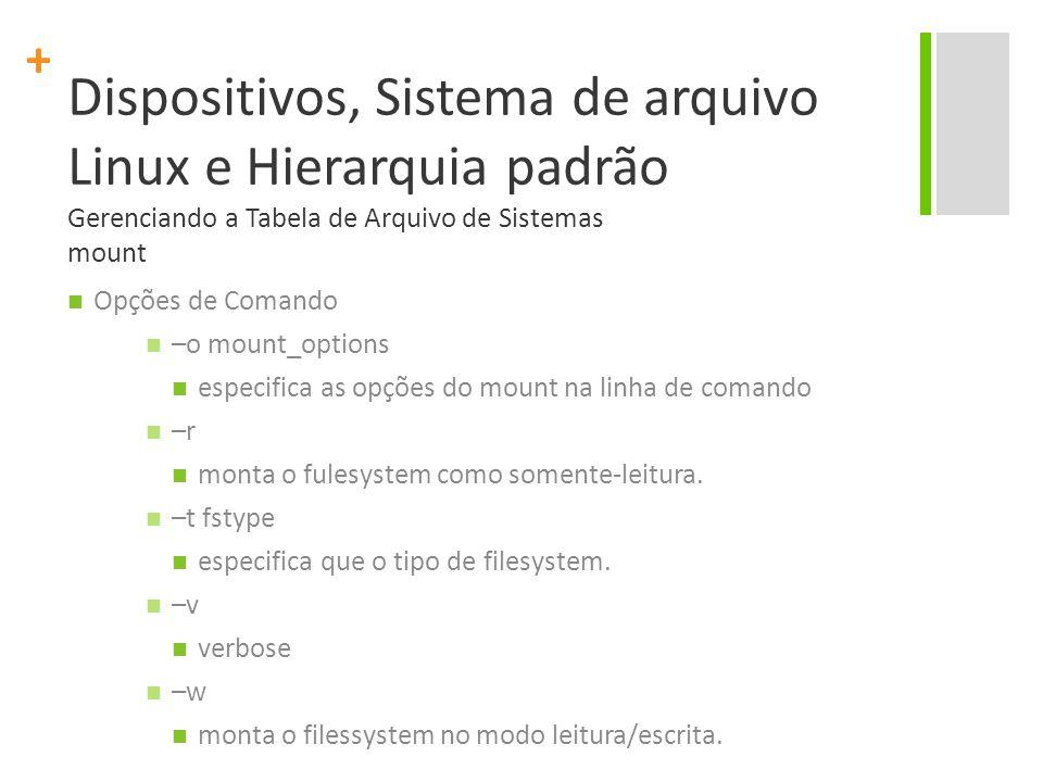 Dispositivos, Sistema de arquivo Linux e Hierarquia padrão Gerenciando a Tabela de Arquivo de Sistemas mount