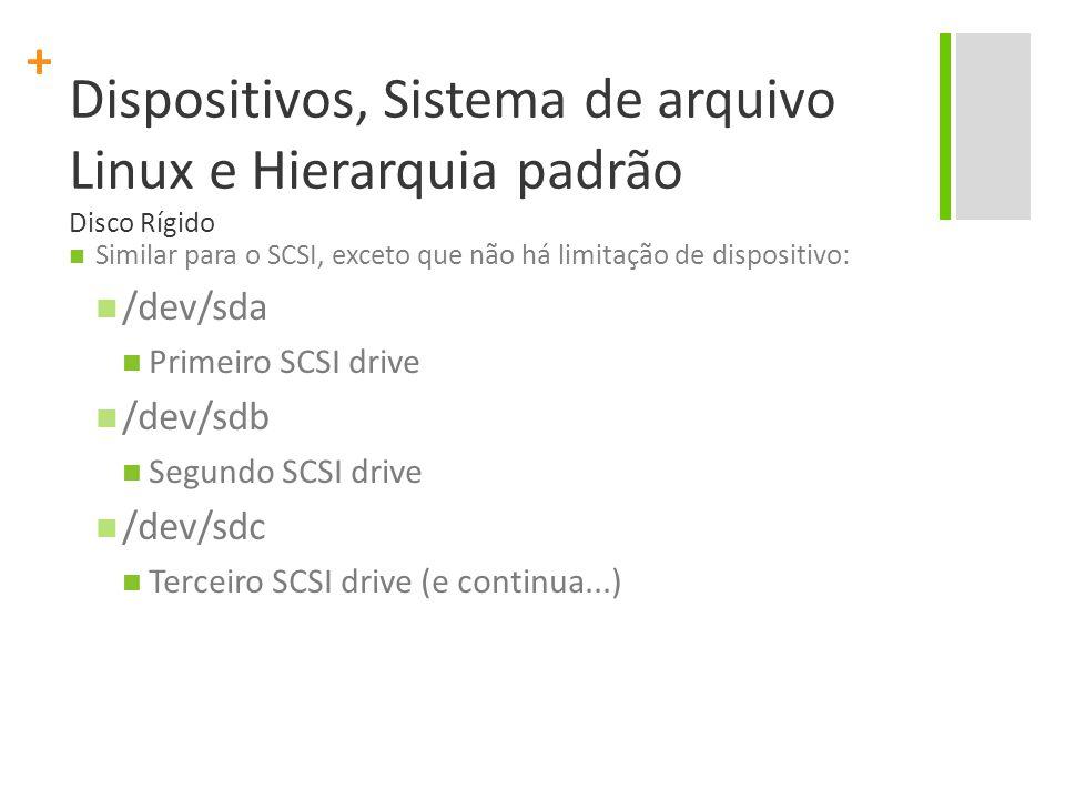 Dispositivos, Sistema de arquivo Linux e Hierarquia padrão Disco Rígido