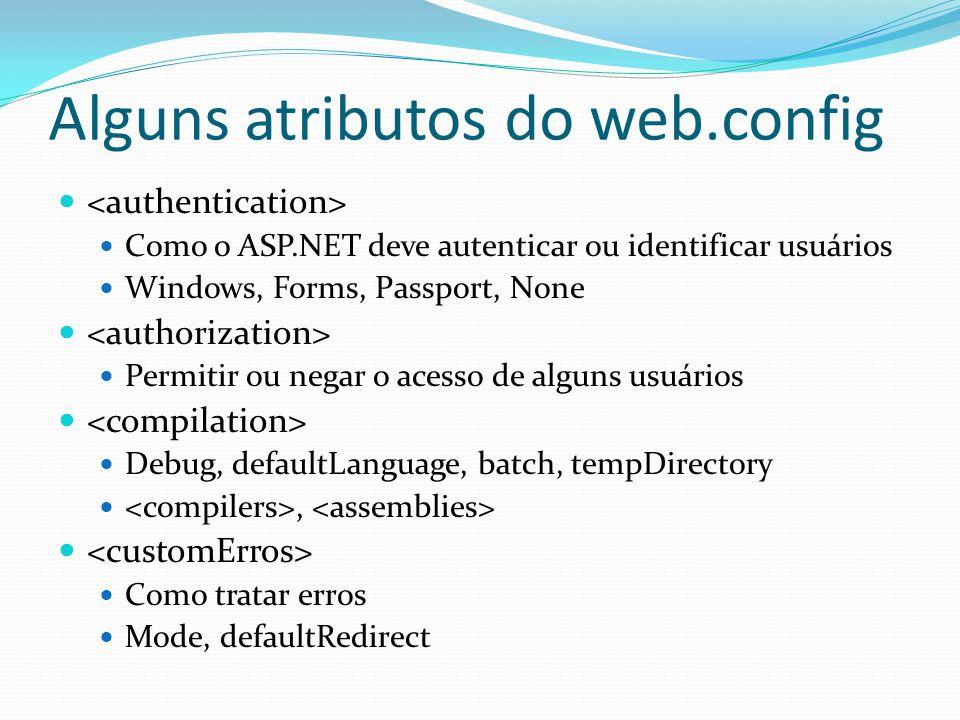 Alguns atributos do web.config
